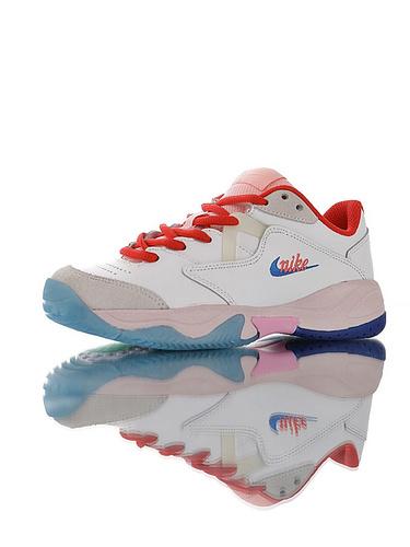 Nike Court Lite 2 Hard 韩系网红学院风 具开发打造 正确移膜革排气材质鞋面 耐克二代学院网球复古休闲运动慢跑鞋 白红粉蓝彩配色