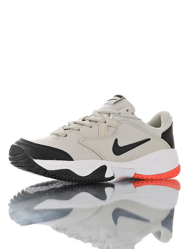 Nike Court Lite 2 Hard 韩系网红学院风 具开发打造 正确移膜革排气材质鞋面 耐克二代学院网球复古休闲运动慢跑鞋 米灰黑白桔红配色