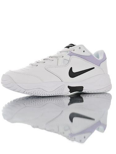 Nike Court Lite 2 Hard 韩系网红学院风 具开发打造 正确移膜革排气材质鞋面 耐克二代学院网球复古休闲运动慢跑鞋 白紫黑小钩配色