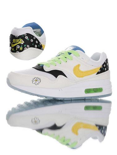 "Nike Air Max 1""Daisy Pack"" 颜值不输权志龙联名 ""小雏菊"" 耐克初代复古运动慢跑鞋 帆布白黑浅绿黄小雏菊配色 CW5861-100"