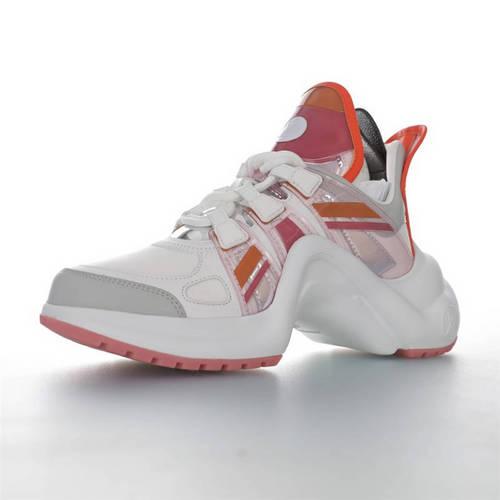 Louis Vuitton Archlight Sneakers Ins炸款米兰走秀风 路易威登减震运动弓型舞蹈老爹运动鞋 PVC白灰银樱花粉配色 1A65RA
