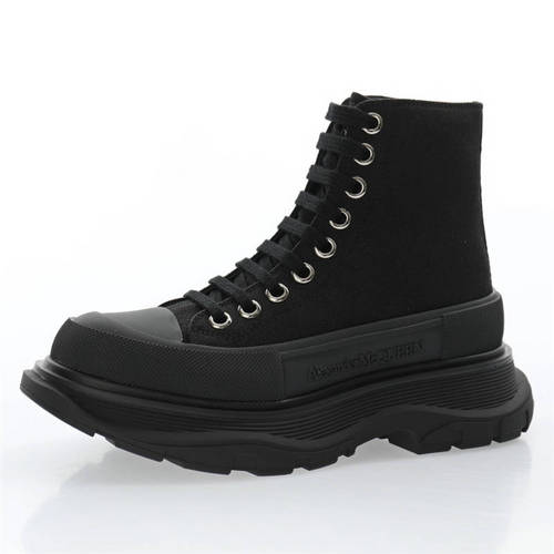 Alexander McQueen Chunky Tread Slick High Sneakers 帆布纯黑 633900WHW571025