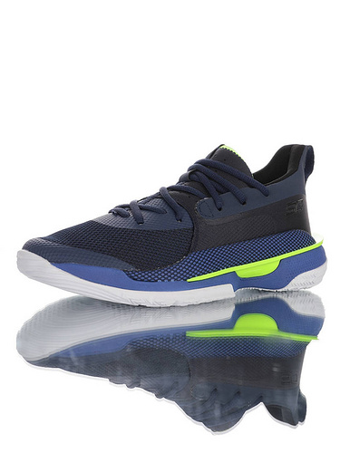 Under Armour Curry 7 新配色有点特别 斯蒂芬·库里7代专业室内文化运动篮球鞋 主场黑深蓝白荧光绿配色 3021258-404