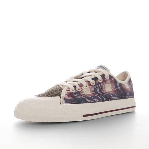 Adidas Nizza Blanc Trefoil RF Low 阿迪达斯半截式包胶鞋头校园低帮休闲运动帆布板鞋 帆布鸳鸯格子拼接豹纹迷彩配色 FV0679