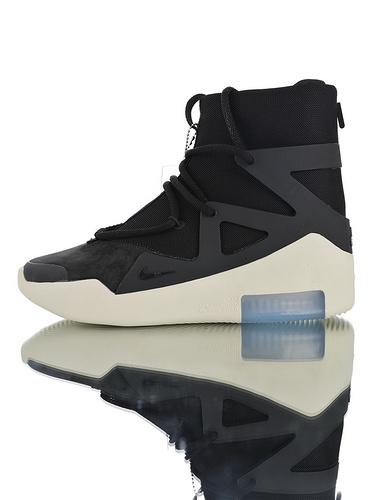 Fear of God x Nike Fear of God 1 2019神级之鞋 恐惧之神联名 原装意大利进口牛巴绒革 韩国进口拉链扣  品质升级版本 高街气垫鞋 哑黑配色