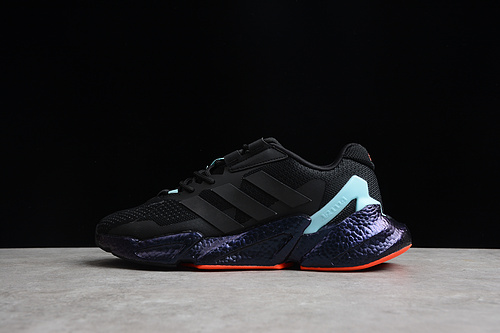 阿迪 X9000L4 M  真爆 超轻透气缓震慢跑鞋 3M 黑蓝橘红 S23665