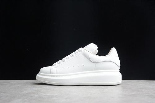 版本 礼盒装 Alexander McQueen/亚历山大麦昆 松糕鞋厚底增高小白鞋 全白牛皮 553700