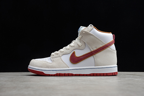 "SB Dunk High ""Team Crimson"" 米白红 CV9499-100"