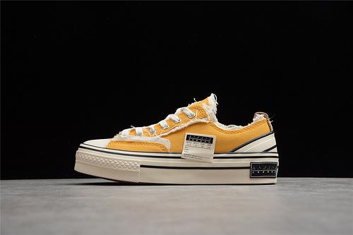 纯原级别 吴建豪个人新锐品牌 xVESSEL G.O.P. Low 解构重叠厚底 低帮百搭增高帆布硫化板鞋 黄色 S20XC01Y