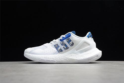 阿迪 Day Jogger 夜行者二代 爆米花 复古缓震跑鞋 白蓝色图纹 FW5897