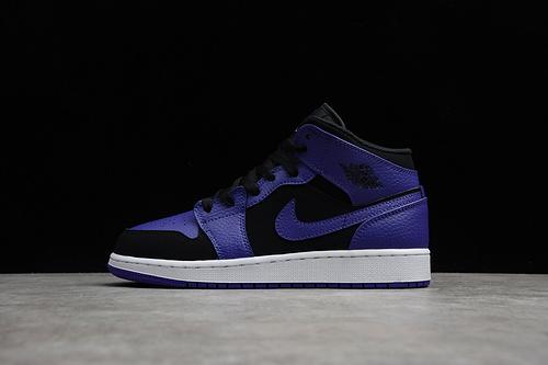 CJ版本 Air Jordan 1 Mid AJ1 小黑紫脚趾 篮球鞋 554725-051
