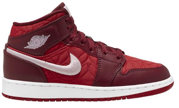 AIR JORDAN 1 MID配红色QUI缝鞋面发售--aj货源